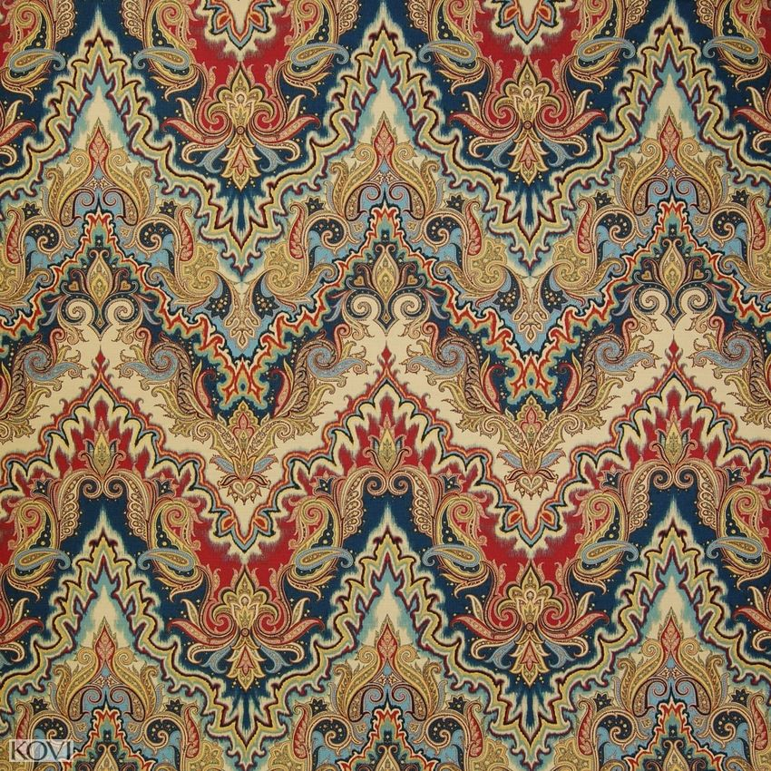 Jewel Blue And Red Asian Cotton Upholstery Fabric In 2020 Asian Fabric Upholstery Fabric Asian Upholstery Fabric