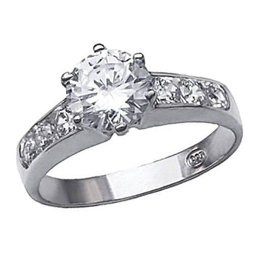 http://profitpin.com/pinnable-post/bling-jewelry-sterling-silver-channel-set-6-prong-1-25ct-cz-engagement-ring-size-9 For love that shines through eternity. Surprise her with this beautiful NY 5th Ave Designer Inspired Engagement Ring Composed with solid .925 sterling silver and a dazzling cubic zirconia. This 6-prong CZ Diamond ring hosts a simple, yet elegant design. The round-cut Diamond CZ 7mm center stone is accented with three channel set r...