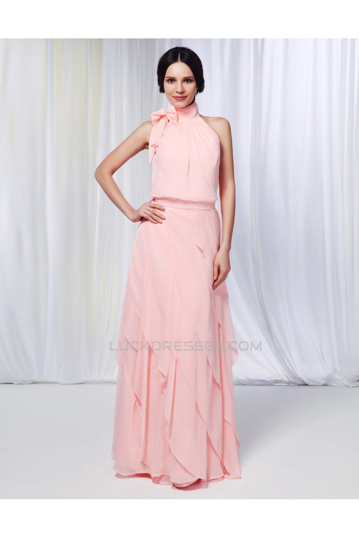 Sheath/Column High-Neck Beaded Long Pink Chiffon Prom Evening Formal ...