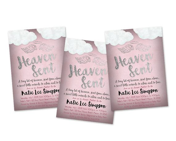 Pink heaven sent baby shower invitations pink angel wings baby get the rose pink rustic style heaven sent baby shower invitations youve been looking filmwisefo Choice Image
