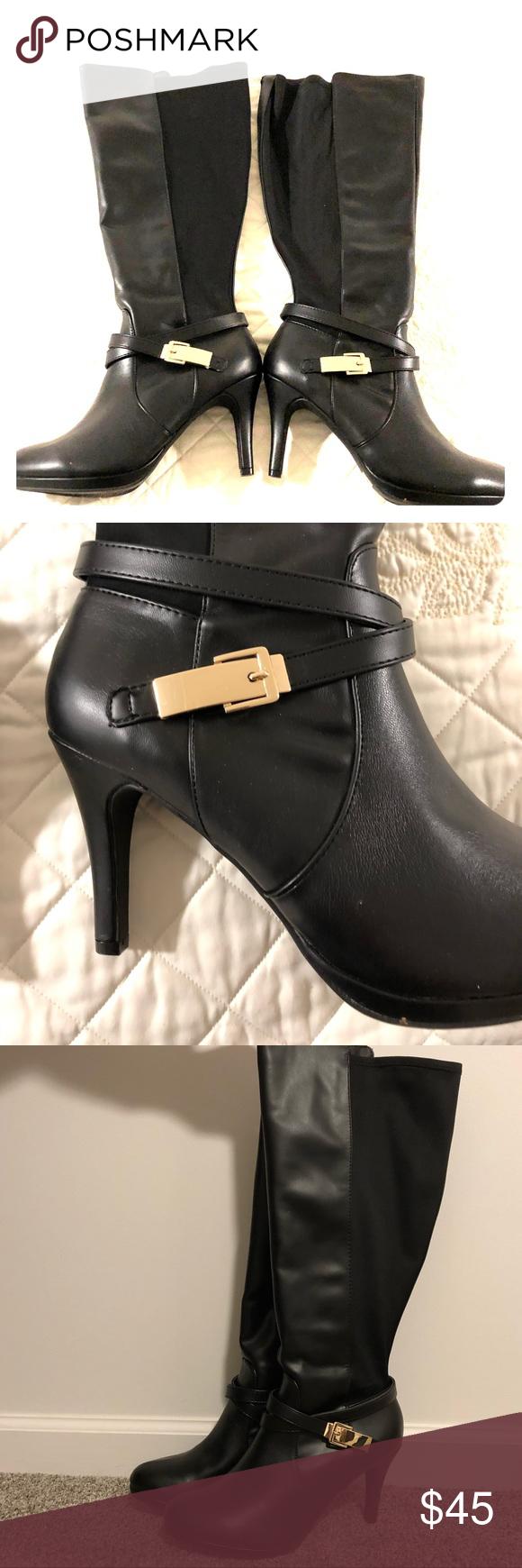 Black heel boots, Wide calf boots
