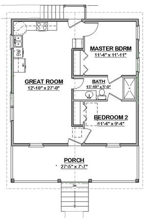 Great layout for a two bedroom granny unit shotgun house for Granny unit house plans