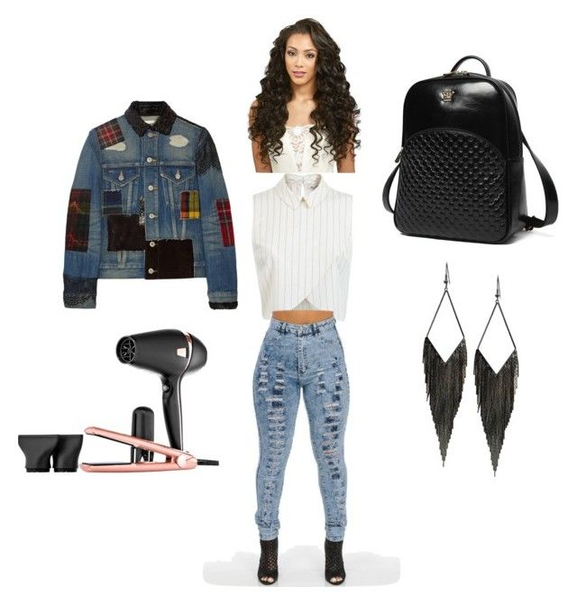"""""""feeling curly"""" by ieashia-friend on Polyvore featuring Miss Selfridge, Junya Watanabe, Princess Carousel, GUESS and GHD"""