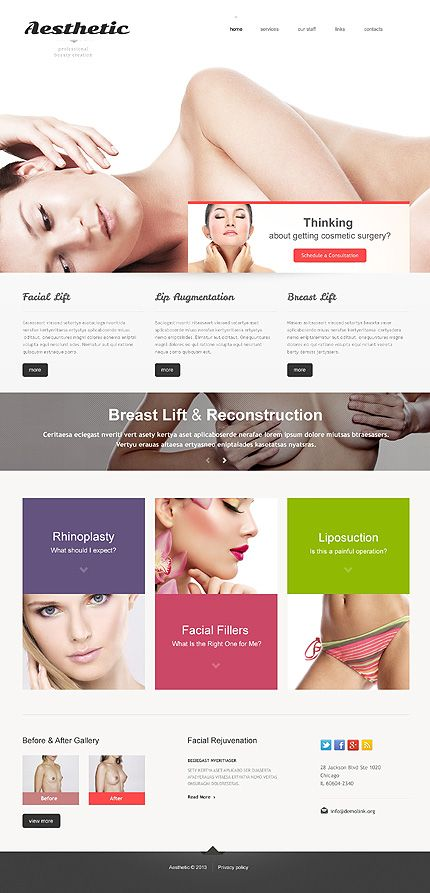 Medical Health Beauty Youth Aesthetic Plastic Surgery Liposuction Rhinoplasty Lip Plastic Surgery Medical Website Design Responsive Website Template
