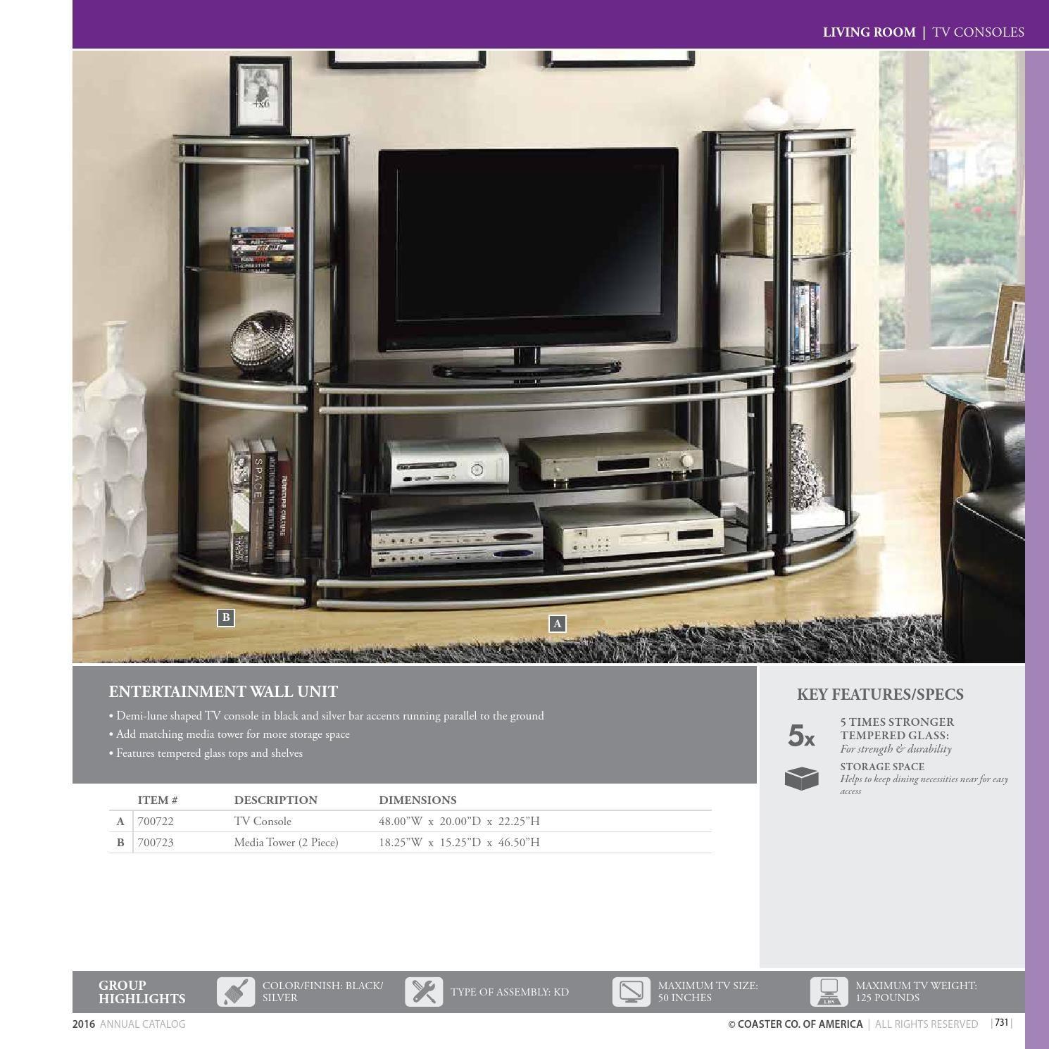 Modular o centro de entretenimiento para sala (https://issuu.com/coasterfurniture/docs/2016_livingroom_catalog_c49db755ebb4f0)