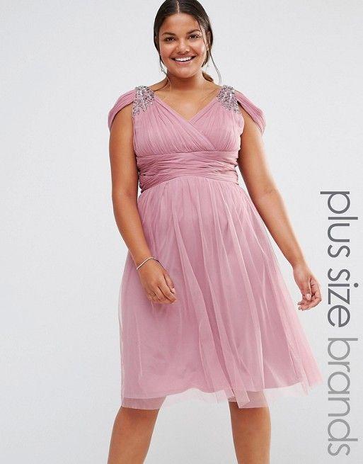 Little Mistress Plus Embellished Cold Shoulder Plunge Midi Dress