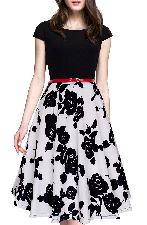 HOMEYEE Women's 1950s Vintage Elegant Cap Sleeve Swing Party Dress A009 #Amazon #Fashion #Style #Outfits #Women
