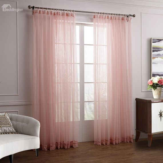 Pale Pink Chiffon Curtain With Accent Detail Sheer Pastel Pink Curtains Pink Sheer Curtains Rose Bedroom