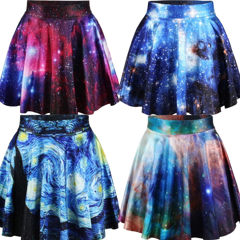 East Knitting New 2014 summer women pleated skirts Galaxy Starry Night SKIRT Saia S M L XL plus size-in Skirts from Apparel & Accessories on...