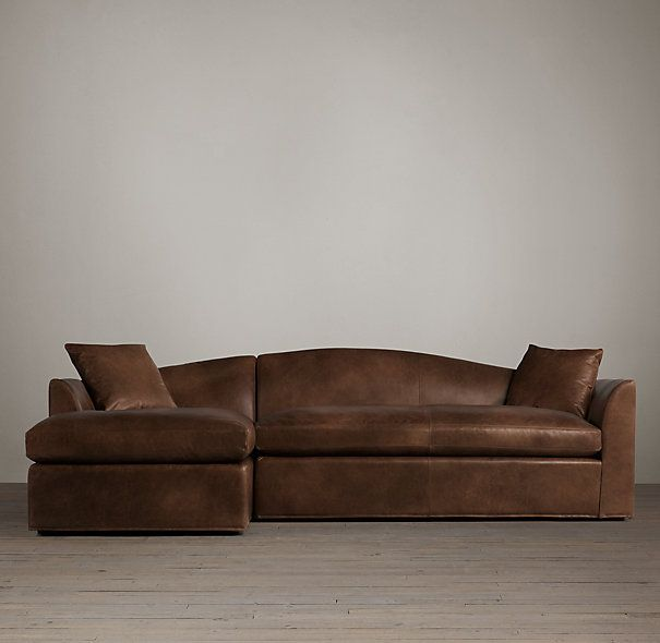 Belgian Camelback Leather Left Arm Chaise Sectional Sectional