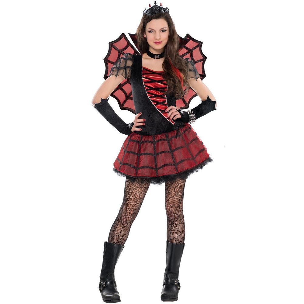 Womens Spider Web Witch Queen Gothic Wings Fairy Dress Costume ...