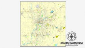 Map vector Dayton Ohio US printable vector street City Plan map