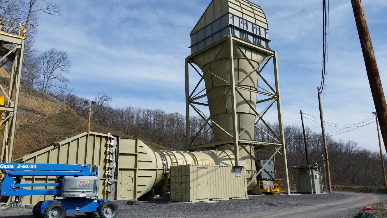 Big mines need big fan units to push the air underground