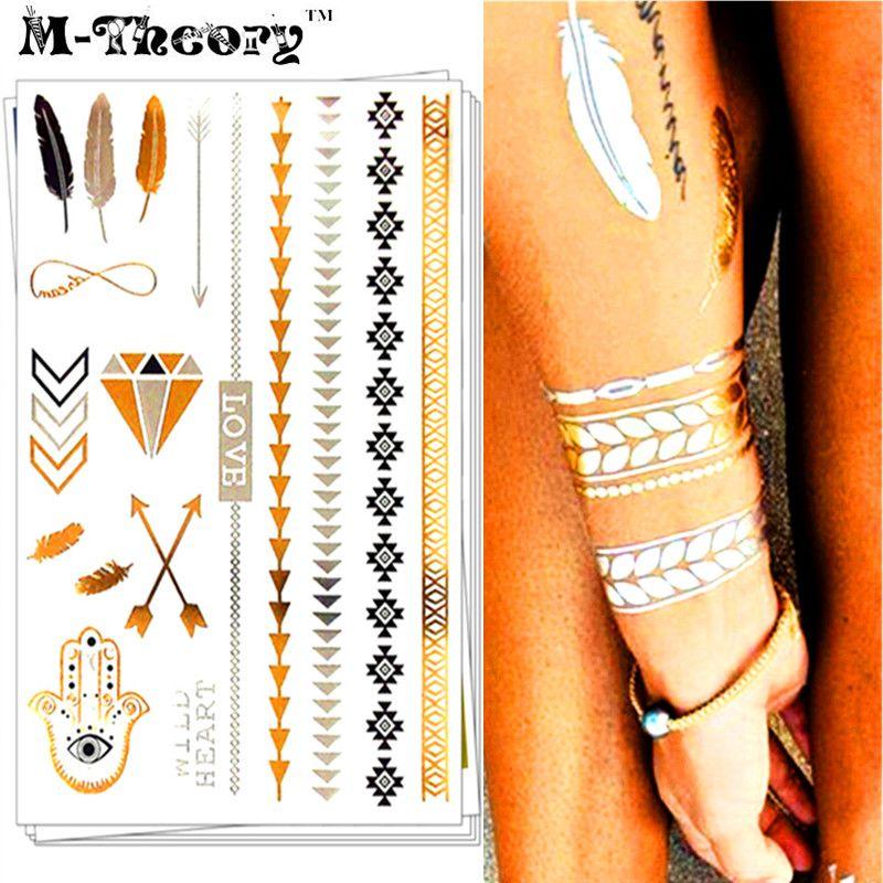 01b8ae29e M-theory Metallic 3d Gold Choker Temporary Makeup Tattoos Body Art Flash  Tatoos Sticker Hamsa Henna Tatto Bikini Makeup Tools