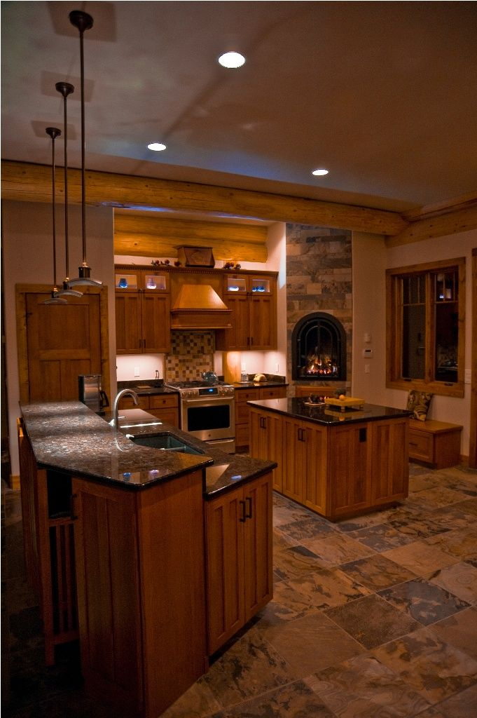 Pagosa Springs Log Home Rustic Kitchen Possible Cork Floor Tiles With Diffe Bo Of Natural Colored