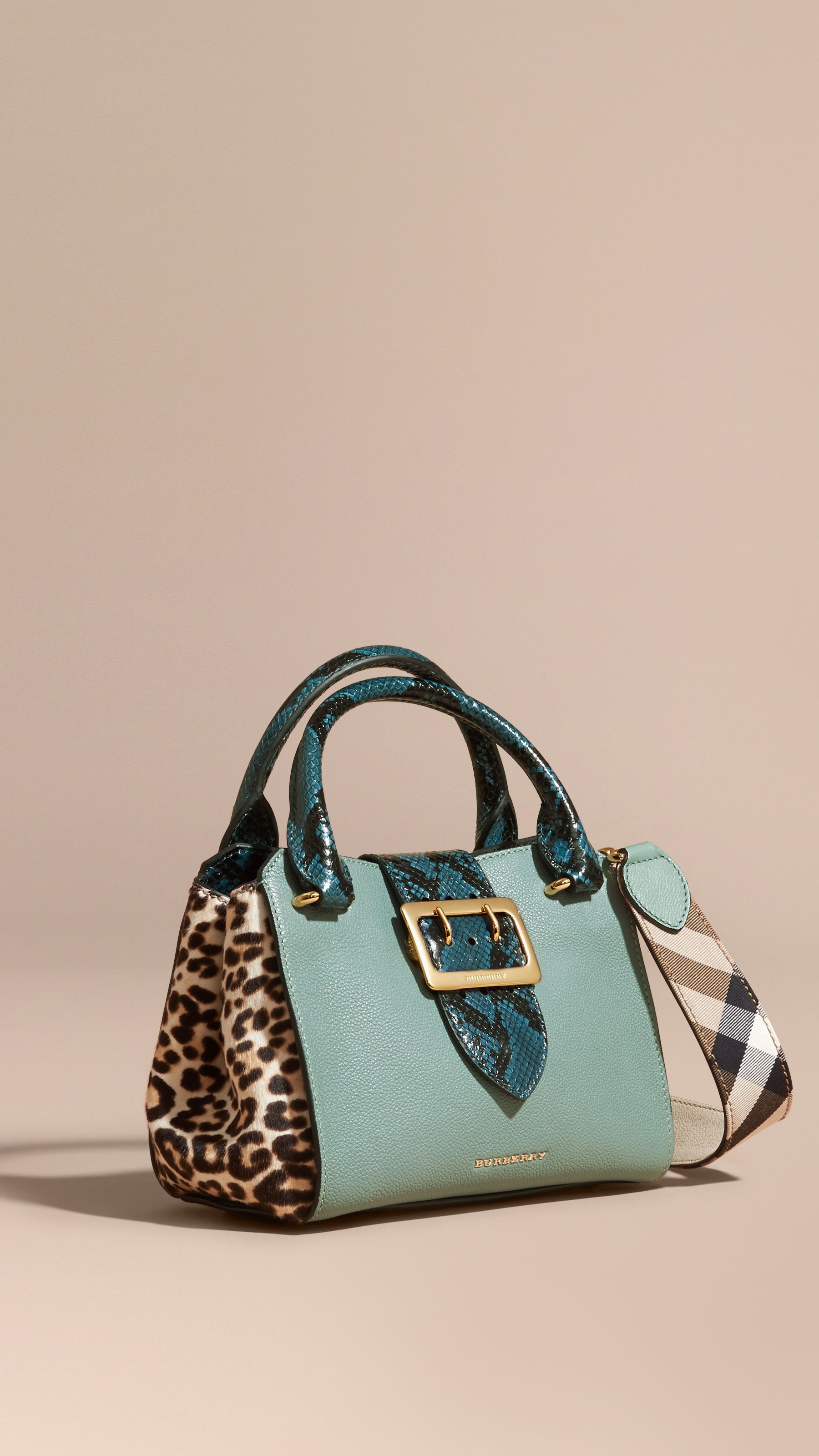 92a098138d38 The Small Buckle Tote in Leather and Leopard-print Calfskin Eucalyptus Green