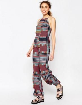 ASOS AFRICA x Chichia Strappy Jumpsuit in Tile Print