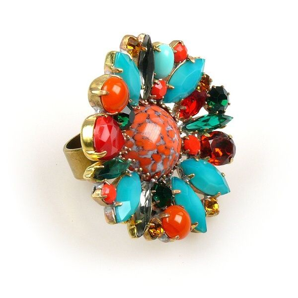 Empress - Extraordinary large multicolor rhinestone ring. $22.90