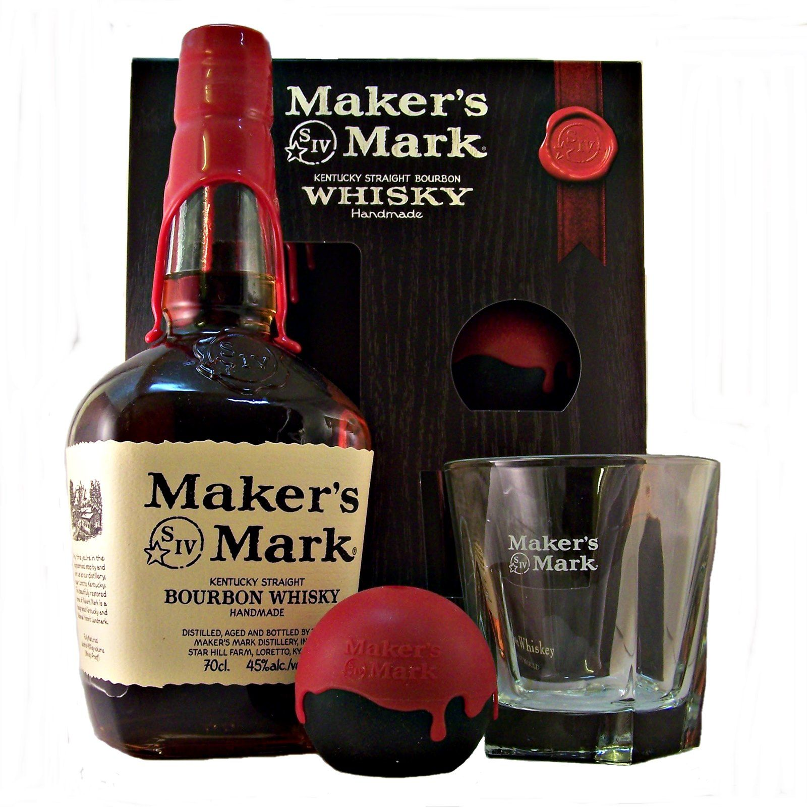 Makers Mark Bourbon Gift Pack containing a bottle of Maker's Mark Kentucky Straight Bourbon Whiskey a tumbler and an ice mould buy online at whiskys.co.uk