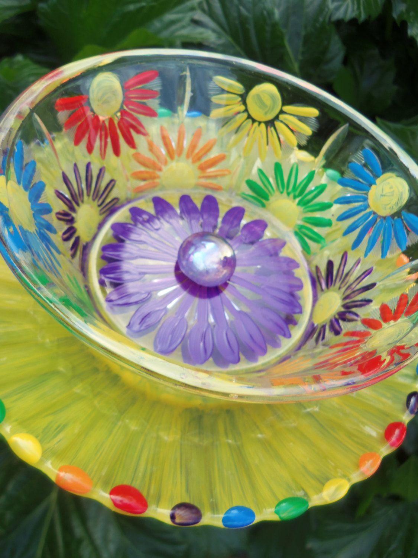 Glass Flower Garden Art Hand Painted in Yellow & More - Garden Decor ...