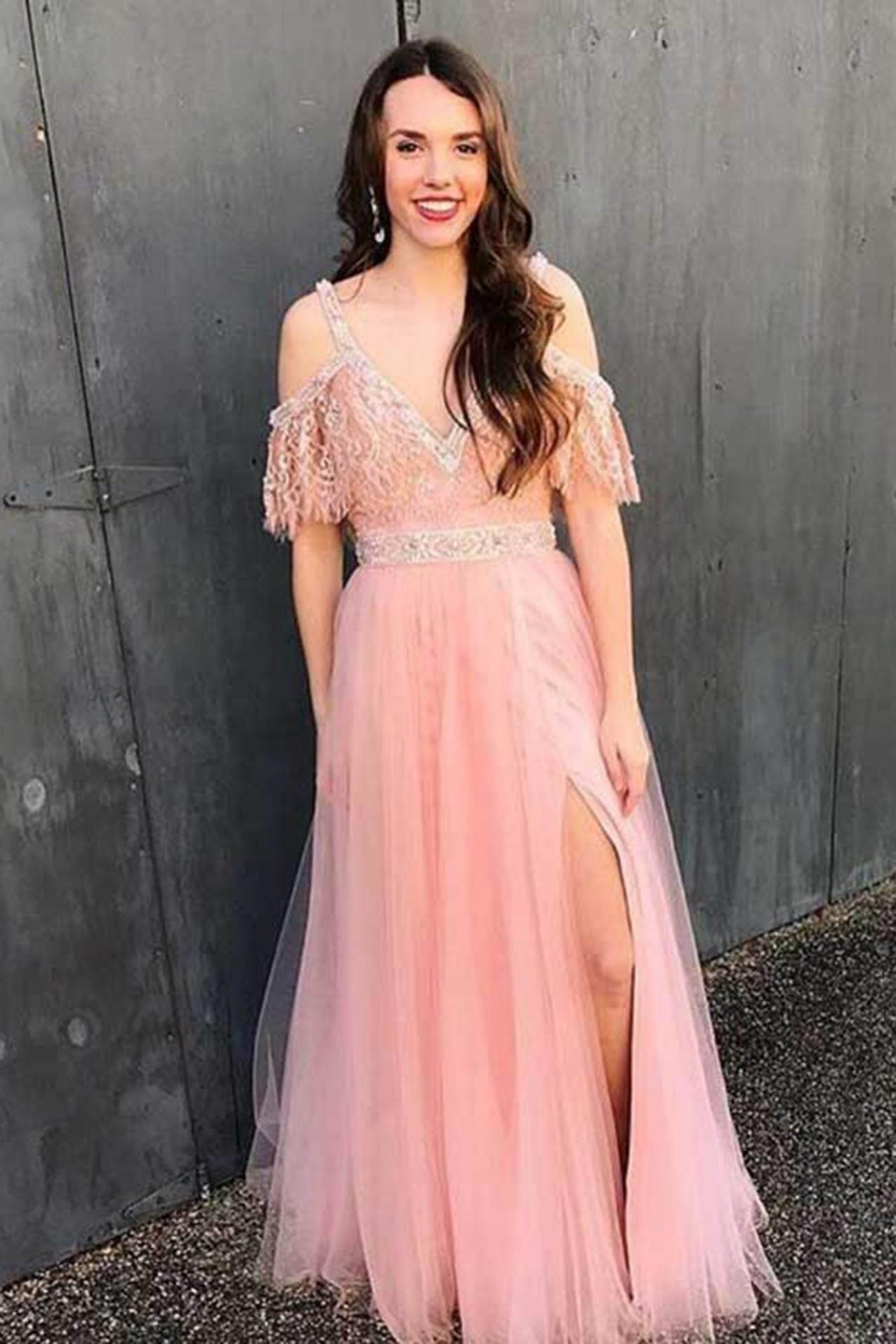 Split Side Pink Beaded Prom Dresses Elegant Long Homecoming Dress Formal Evening Dress Lace Evening Dresses Off Shoulder Evening Dress Homecoming Dresses Long [ 1920 x 1280 Pixel ]