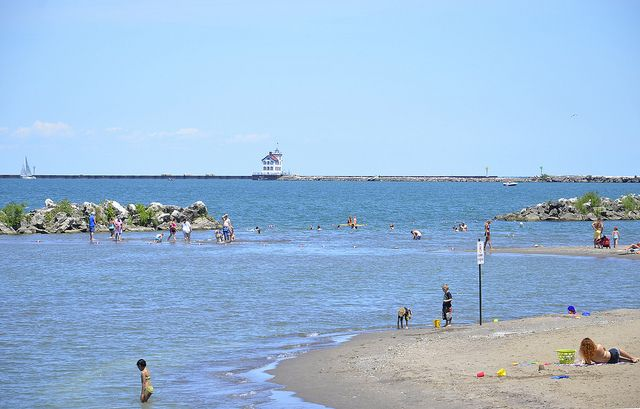 View of the Lorain Lighthouse from Lakeview Beach by Visit Lorain County
