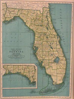 Rand Mcnally Map Of Florida.Vintage Map Of Florida Rand Mcnally Collier S World Atlas C 1949
