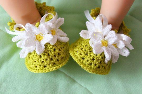 Häkelanleitung für Kamillen Babyschuhe
