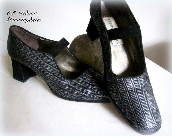 Bloomingdale's Womans Harringbone Leather Shoe MaryJane Black Silver Velvet  #Bloomingdales #MaryJanes #SpecialOccasion