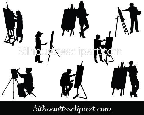 Artist Painter Vector Graphics Download Painting Silhouette Silhouettes Vector Silhouette Vector Vector Graphics Silhouette Pictures
