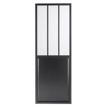Porte coulissante aluminium noir Atelier verre clair ARTENS, H204 x - Leroy Merlin Renovation Cuisine