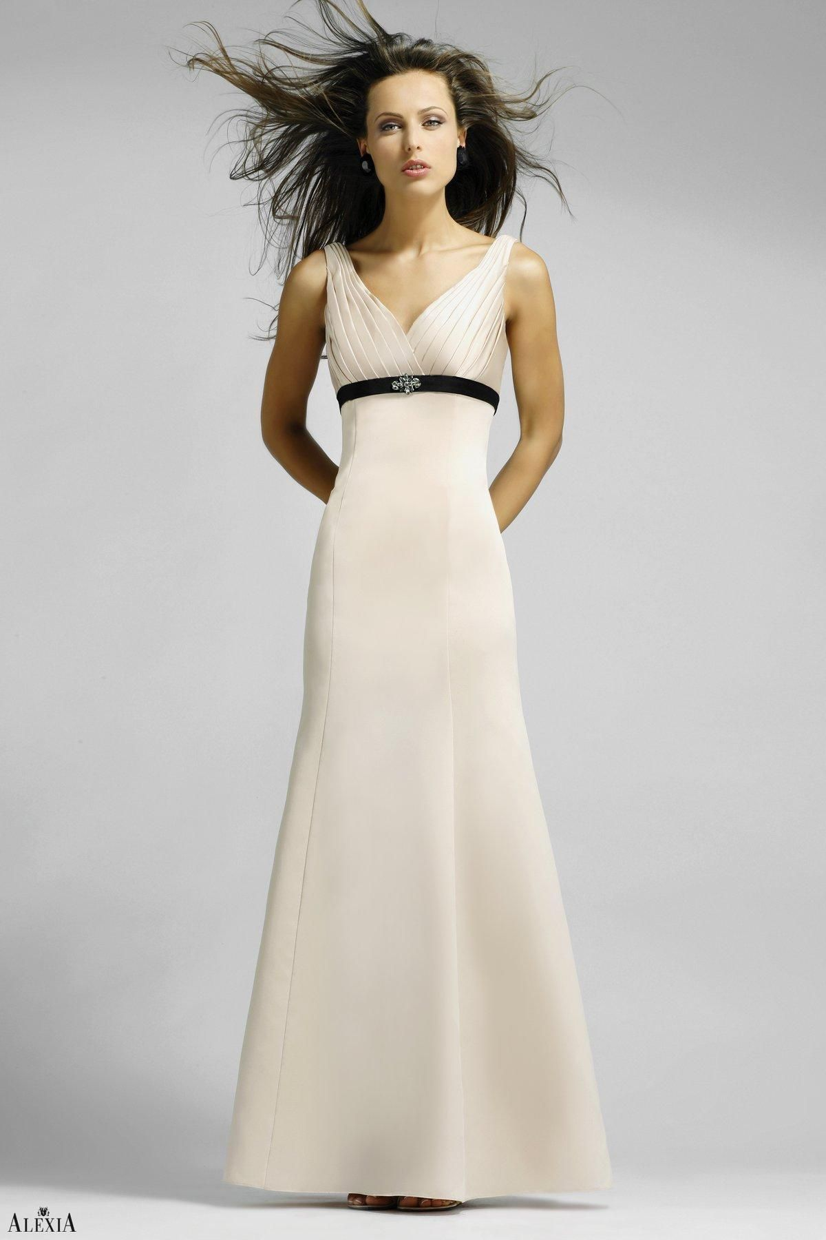 Twotone matte satin aline bridesmaids gown with beading comes