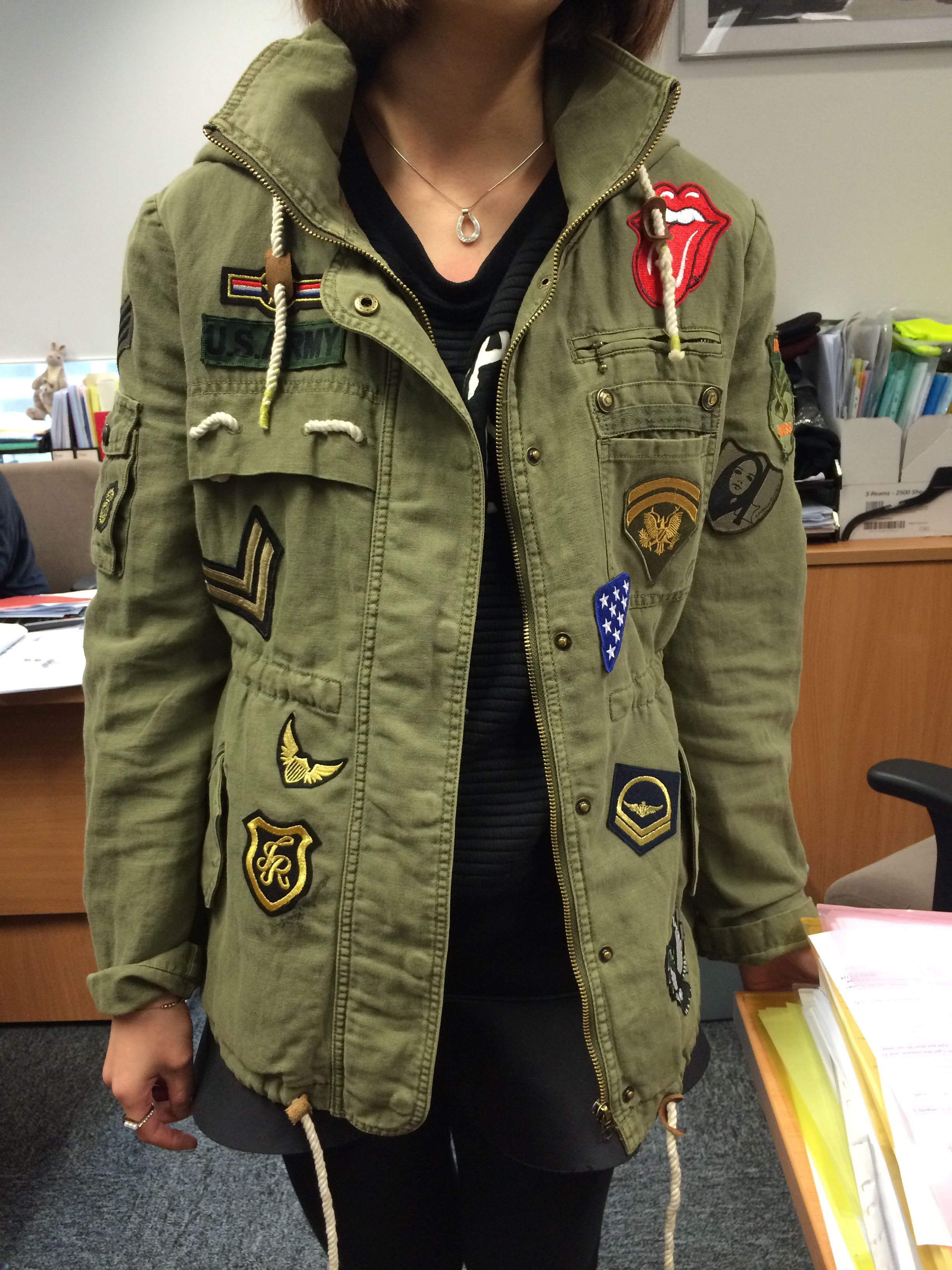 My Diy Badges And Patches Military Jacket Look Pinterest Military Jacket Badges And Patches
