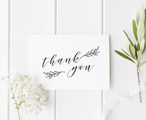 Thank You Card Printable Leaf Thank You Card Template Etsy Thank You Card Template Printable Thank You Cards Thank You Cards