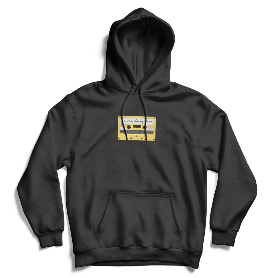 b1fb0f32da7c Comfort fit, pre-shrunk pull-over hoodie with hood and front pouch pocket  50% Cotton/ 50% Poly Color: Black Hannah pictured in a size Medium.