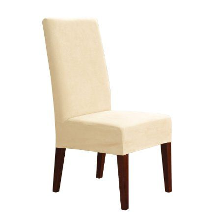 Sure Fit Soft Suede Shorty Dining Room Chair Slipcover Sure Fit Soft Suede Shorty Dining Room Chair Slipcover Cream