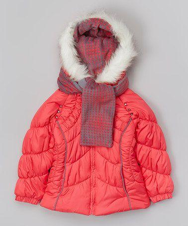 Look what I found on #zulily! Peach Faux Fur Puffer Coat - Girls by London Fog #zulilyfinds
