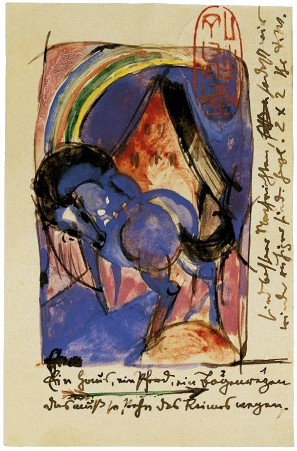Pferd Und Haus Mit Regenbogen Postkarte Von Franz Marc An