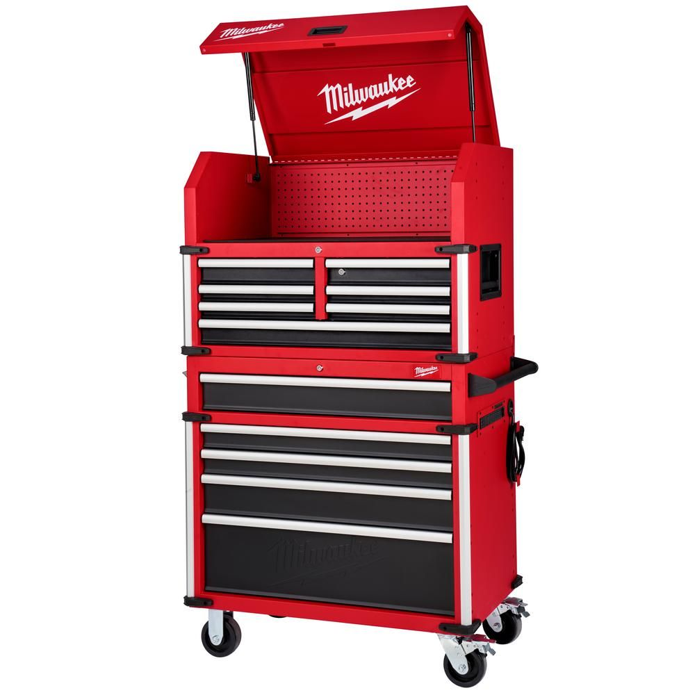 Milwaukee High Capacity 36 In 12 Drawer Tool Chest And Cabinet Combo 48 22 8536 The Home Depot In 2021 Tool Chest Tool Storage Cabinets Tool Storage