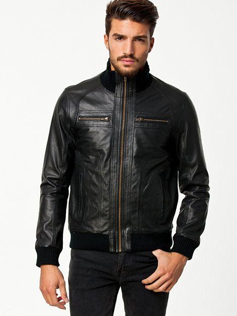 ad0ccb17b2b356 Jordon Leather Jacket - Jack   Jones - Black - Jackets And Coats - Clothing  - Men - NlyMan.com
