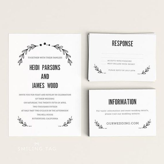 Wedding Invitation Printable Set  Floral Garden  Ready To Print