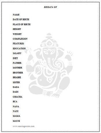 Marriage biodata sample tamil Marriage Biodata