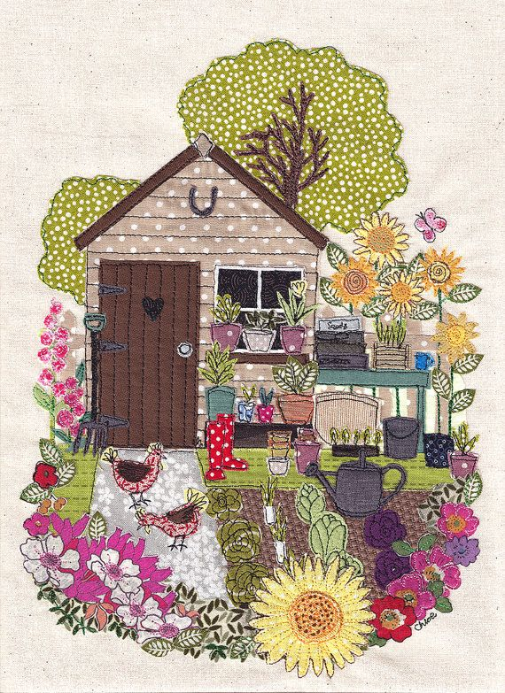 A4 print of original textile artwork 39 my garden 39 applique for Garden shed quilting
