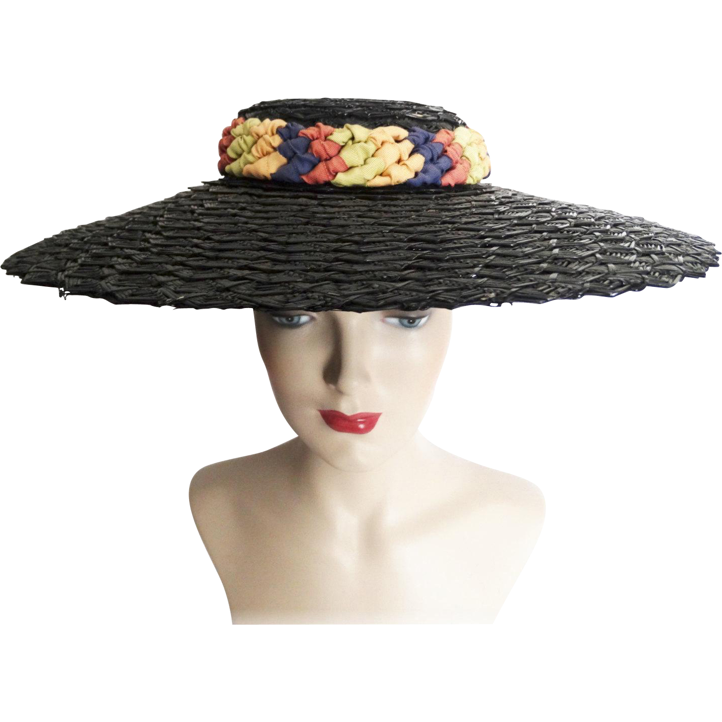 469c9ab36b8 Vintage 1940s Hat//Large Brim//Braided Headband//Multi Colored Ribbons//40  Hat//
