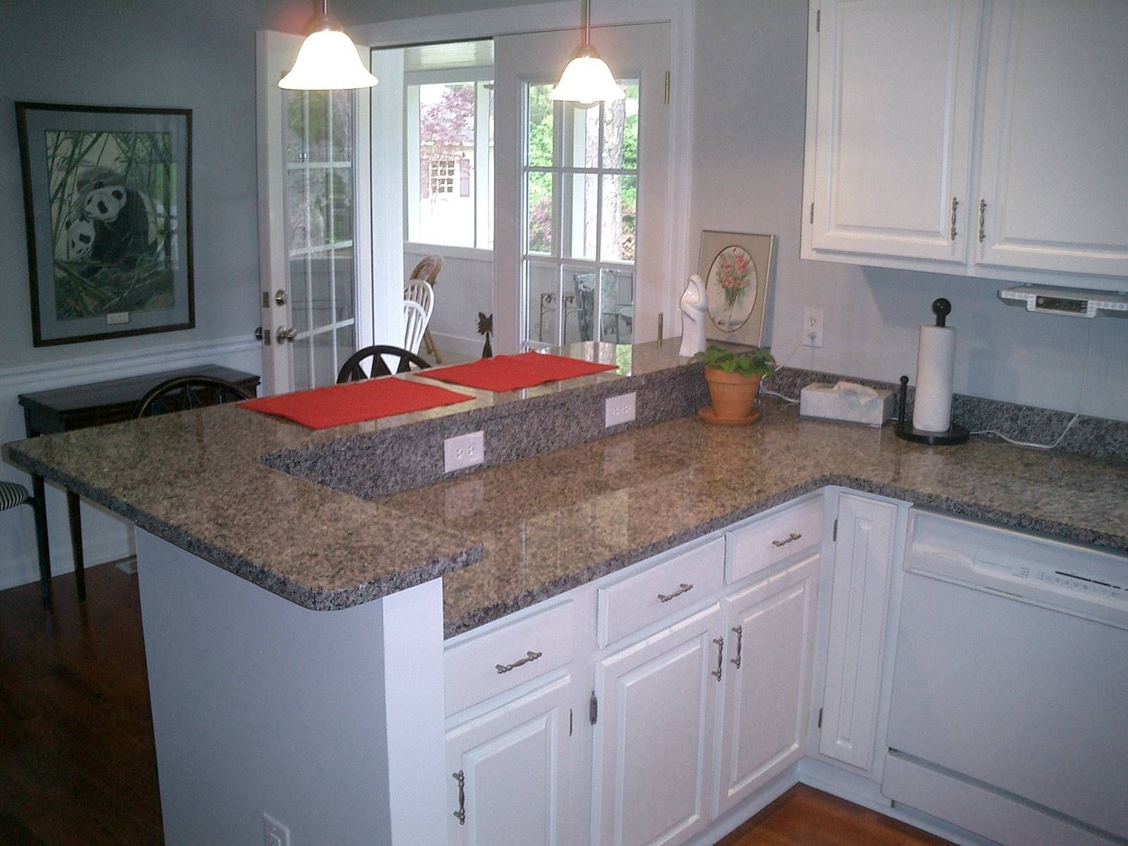Kitchen white kitchen cabinet with new caledonia for Small kitchen granite countertops
