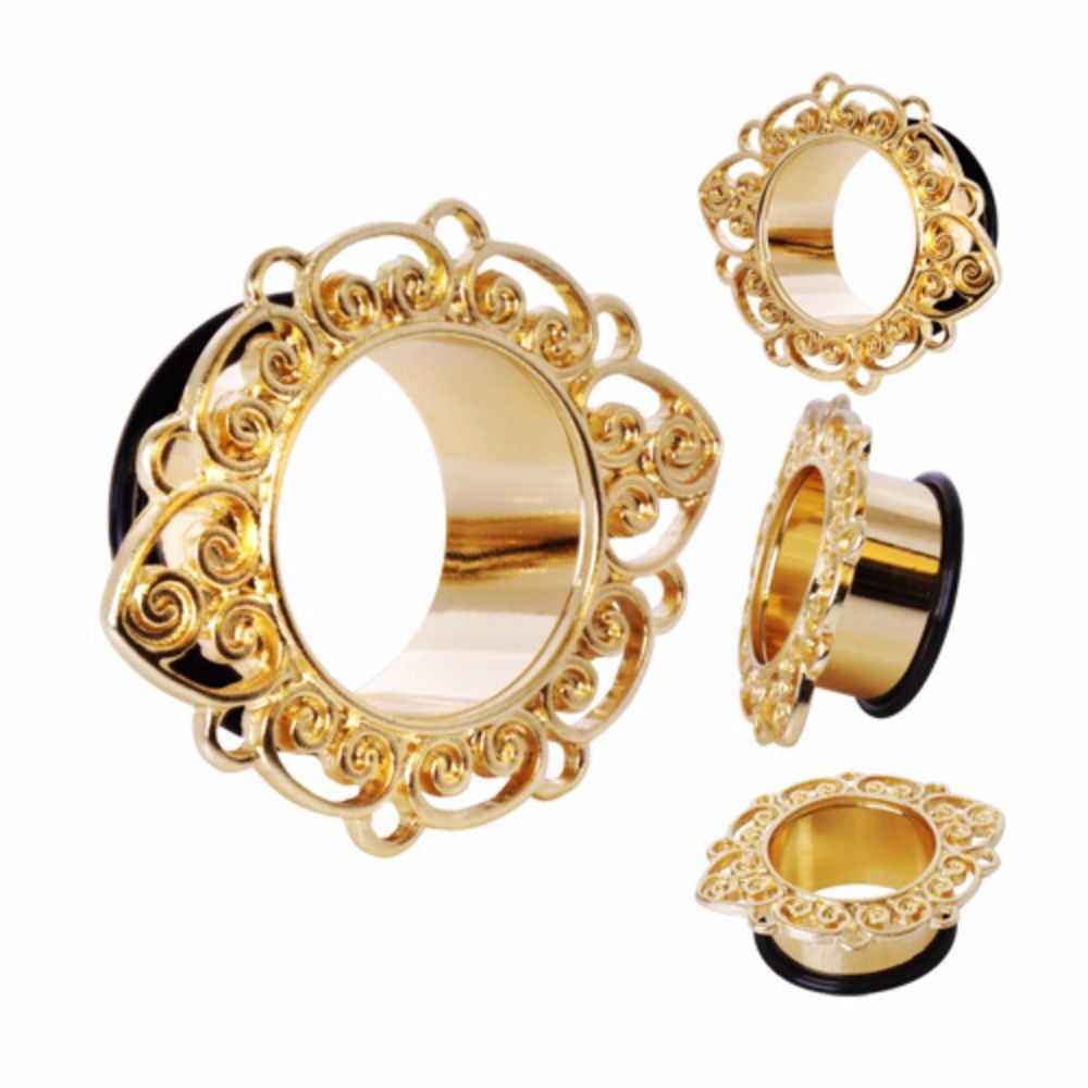 Gold Plated Single Flare Ornate Patal Flesh Tunnel