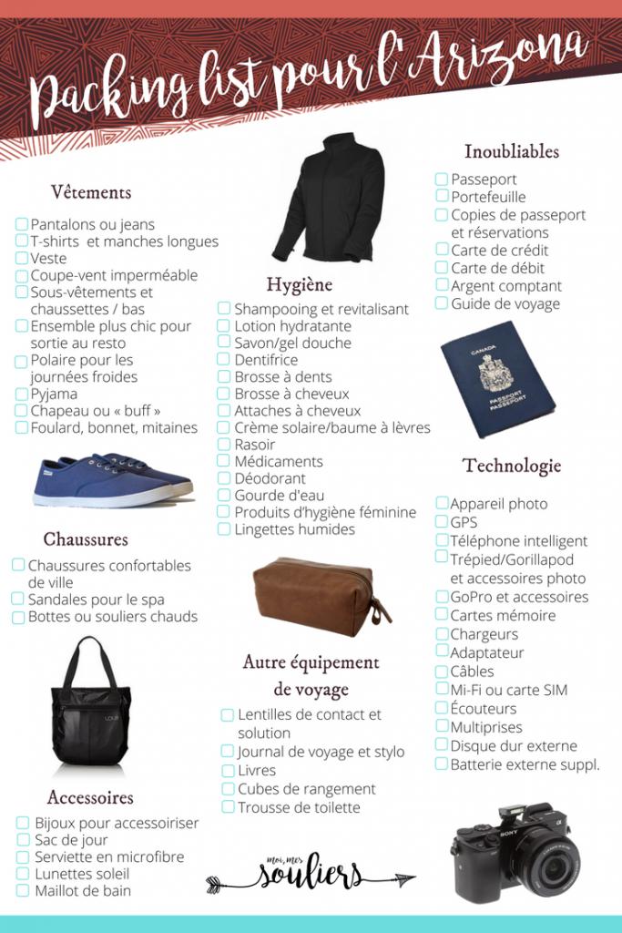 Packing List Pour L Arizona En Hiver Dans Vos Bagages En 2020 Quoi Apporter En Voyage Valise Voyage Arizona