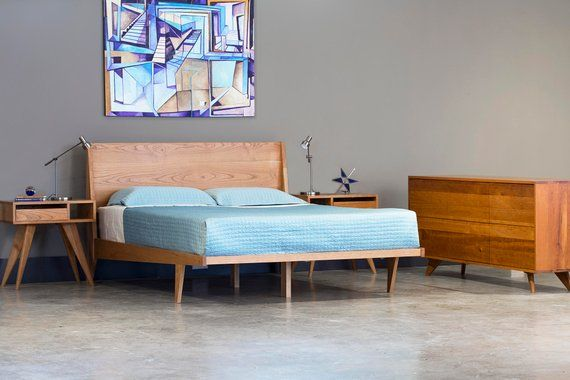 Modern Platform Bed Cherry Mid Century Modern Danish Solid Wood Twin