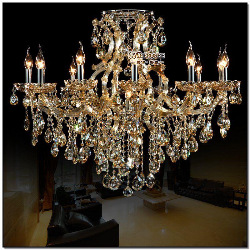Best Selling Cognac Crystal Chandelier Light Large Glass