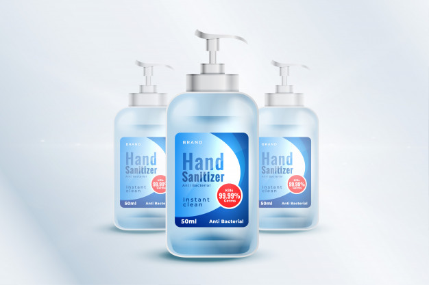 Download Hand Sanitizer Bottle Container Mockup Template In Realistic Style For Free Hand Sanitizer Bottle Mockup Bottle Packaging